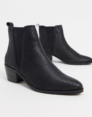 Черные кожаные ботильоны с эластичной вставкой -Черный цвет Dune