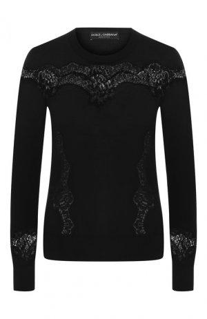 Пуловер из шерсти и хлопка Dolce & Gabbana. Цвет: черный