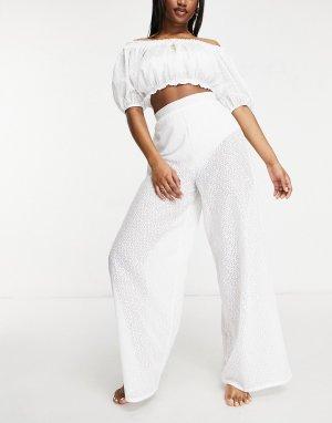 Эксклюзивные белые пляжные брюки из кружева с широкими штанинами и завышенной талией -Белый Fashion Union