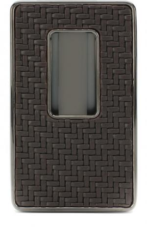 Кожаный футляр для визитных карт Ermenegildo Zegna. Цвет: темно-коричневый