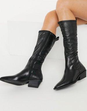 Черные высокие сапоги в ковбойском стиле -Черный Vagabond