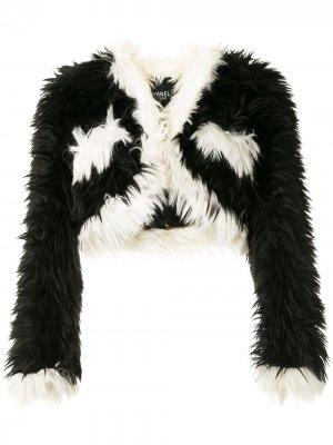 Укороченная шуба 1994-го года из искусственного меха Chanel Pre-Owned. Цвет: черный