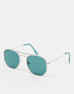Солнцезащитные очки с серебристой оправой и бирюзовыми стеклами -Серебряный New Look