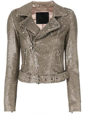 Байкерская куртка с блестящей отделкой Philipp Plein. Цвет: телесный