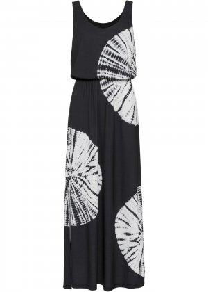 Платье макси с принтом bonprix. Цвет: черный