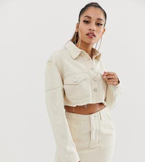 Бежевая укороченная джинсовая куртка -Белый Missguided Petite