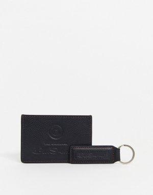Кожаный бумажник и брелок для ключей -Черный Ben Sherman