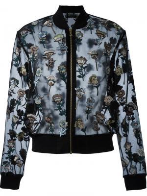 Куртка-бомбер с цветочной вышивкой Markus Lupfer. Цвет: чёрный