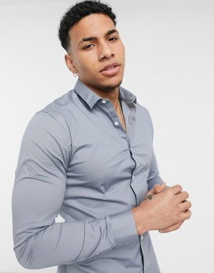 Серая облегающая рубашка из поплина с длинными рукавами -Серый New Look