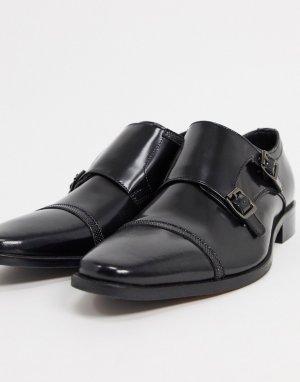 Черные блестящие кожаные туфли на шнуровке -Черный Dune