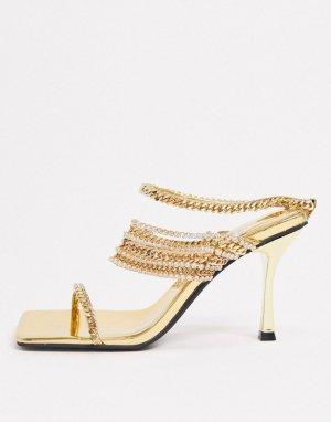 Золотистые босоножки на каблуке с цепочками -Золотой Jeffrey Campbell