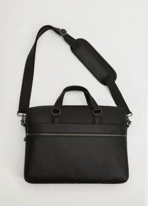 Портфель тоте с наружным карманом - Grain Mango. Цвет: черный