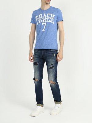 Рваные джинсы J14 Armani Exchange. Цвет: siniy