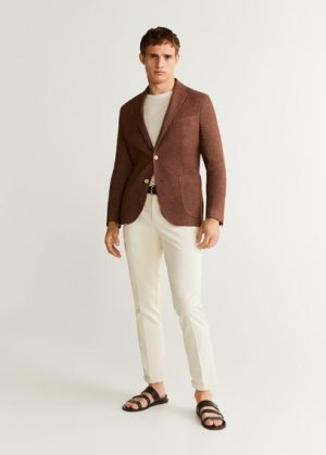 Пиджак slim fit лен и хлопок - Fez Mango. Цвет: золотисто-оранжевый