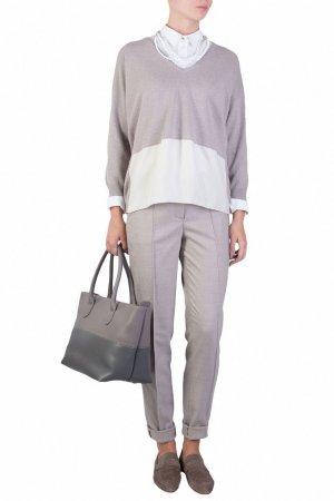 Серый пуловер с удлиненной спинкой Fabiana Filippi