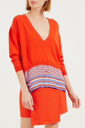 Красный пуловер с контрастной отделкой Elisabetta Franchi