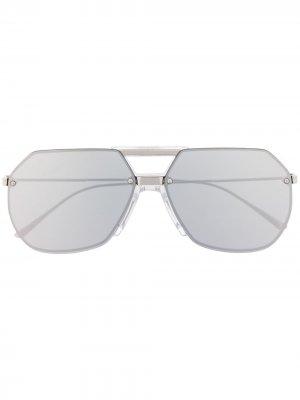 Солнцезащитные очки-авиаторы Bottega Veneta Eyewear. Цвет: серебристый