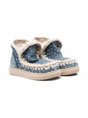 Декорированные ботинки Eskimo Mou Kids. Цвет: синий