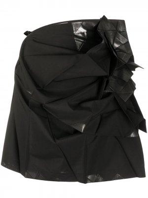 Юбка мини со складками 132 5. Issey Miyake. Цвет: черный