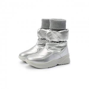 Утепленные сапоги Jog Dog. Цвет: серебряный