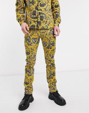 Черные узкие джинсы с золотистым принтом -Черный Versace Jeans Couture
