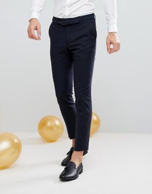 Жаккардовые брюки скинни под смокинг Moss London BROS. Цвет: темно-синий