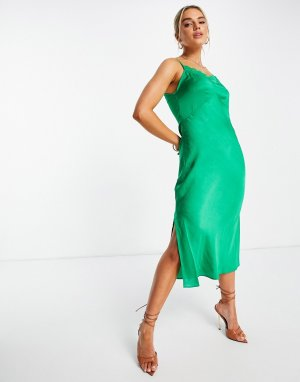 Зеленое платье-комбинация миди с драпировкой и кружевной отделкой Dola-Зеленый цвет French Connection
