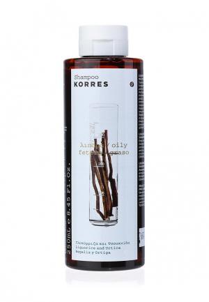Шампунь Korres для жирных волос с лакрицей и крапивой 250 мл. Цвет: белый