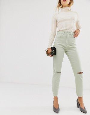 Светло-бирюзовые зауженные джинсы в винтажном стиле с завышенной талией Farleigh-Зеленый ASOS DESIGN