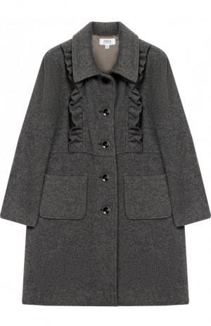 Однобортное пальто свободного кроя с оборками Aletta. Цвет: серый
