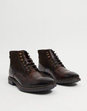 Коричневые кожаные ботинки со вставкой на носке -Коричневый цвет Base London