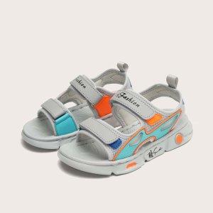 Спортивные сандалии для мальчиков с текстовым принтом SHEIN. Цвет: серый