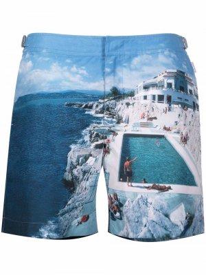 Плавки-шорты Bulldog с принтом Roc Pool Orlebar Brown. Цвет: синий