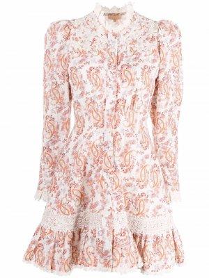 Платье с оборками и принтом пейсли byTiMo. Цвет: белый