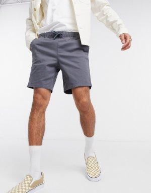 Темно-серые узкие шорты чиносы с эластичным поясом -Серый ASOS DESIGN