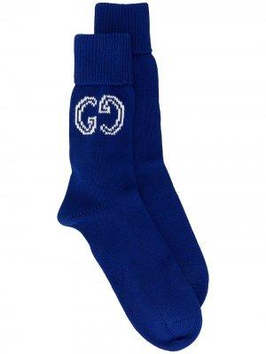 Носки с логотипом GG Gucci. Цвет: синий