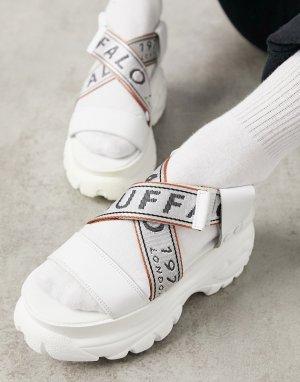 Белые кожаные сандалии на толстой подошве -Белый Buffalo
