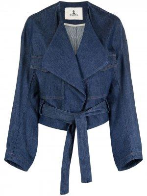 Джинсовая куртка с поясом Barena. Цвет: синий