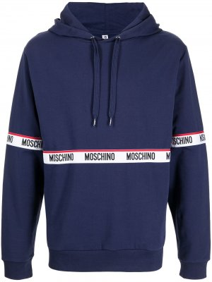 Logo-tape cotton hoodie Moschino. Цвет: синий