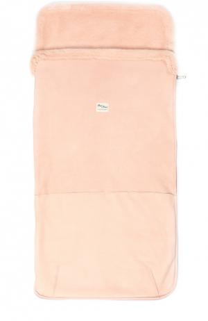 Кожаный конверт для новорожденных с отделкой из овчины Petit Nord. Цвет: розовый