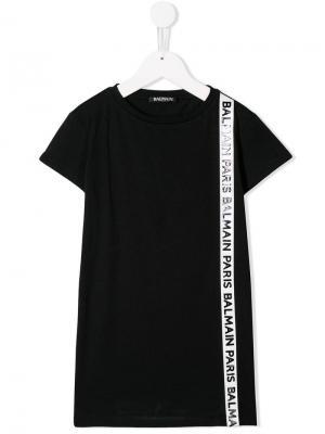 Платье-футболка с логотипом Balmain Kids. Цвет: черный