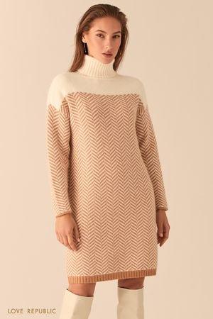 Вязаное платье с узором елочка LOVE REPUBLIC