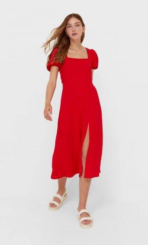 Платье Миди С Глубоким Вырезом На Спине Красный M Stradivarius. Цвет: красный
