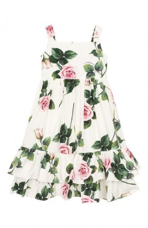 Хлопковый сарафан Dolce & Gabbana. Цвет: белый