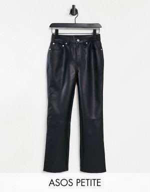 Черные прямые брюки в стиле 90-х из искусственной кожи с классической талией ASOS DESIGN Petite-Черный Petite
