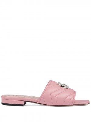 Стеганые сандалии с логотипом Double G Gucci. Цвет: розовый