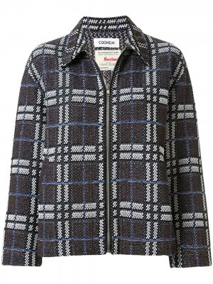 Твидовый пиджак на молнии с узором тартан Coohem. Цвет: коричневый