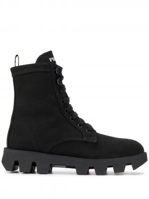 Ботинки на рифленой подошве со шнуровкой Prada. Цвет: черный