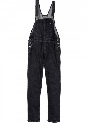 Комбинезон джинсовый стрейчевый bonprix. Цвет: черный