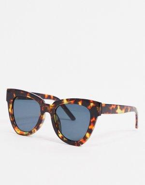 Солнцезащитные очки кошачий глаз в черепаховой оправе -Коричневый цвет AJ Morgan